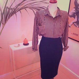 UO Like-new pink & black oversized sexy blouse!